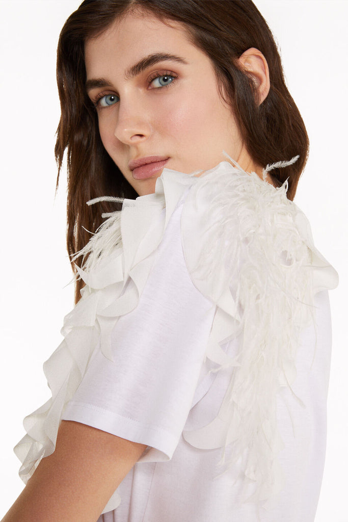 White T-shirt with Feather Detail on the Shoulder