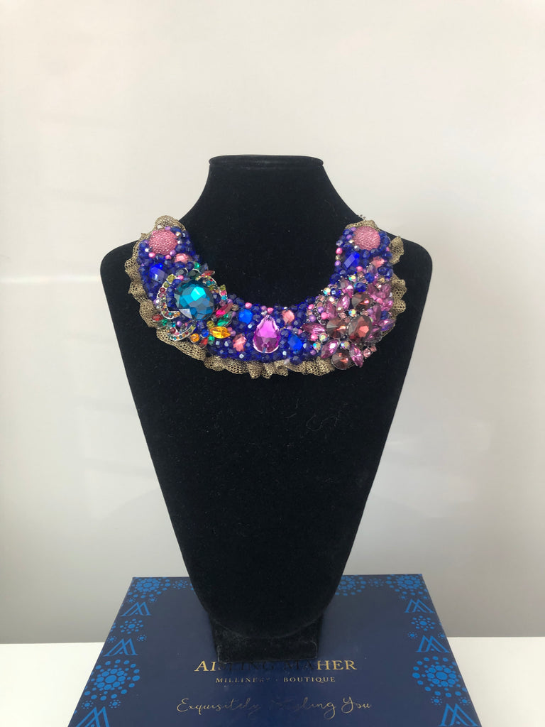 Small Collar - Blue & Purple  with Dark Gold Lace
