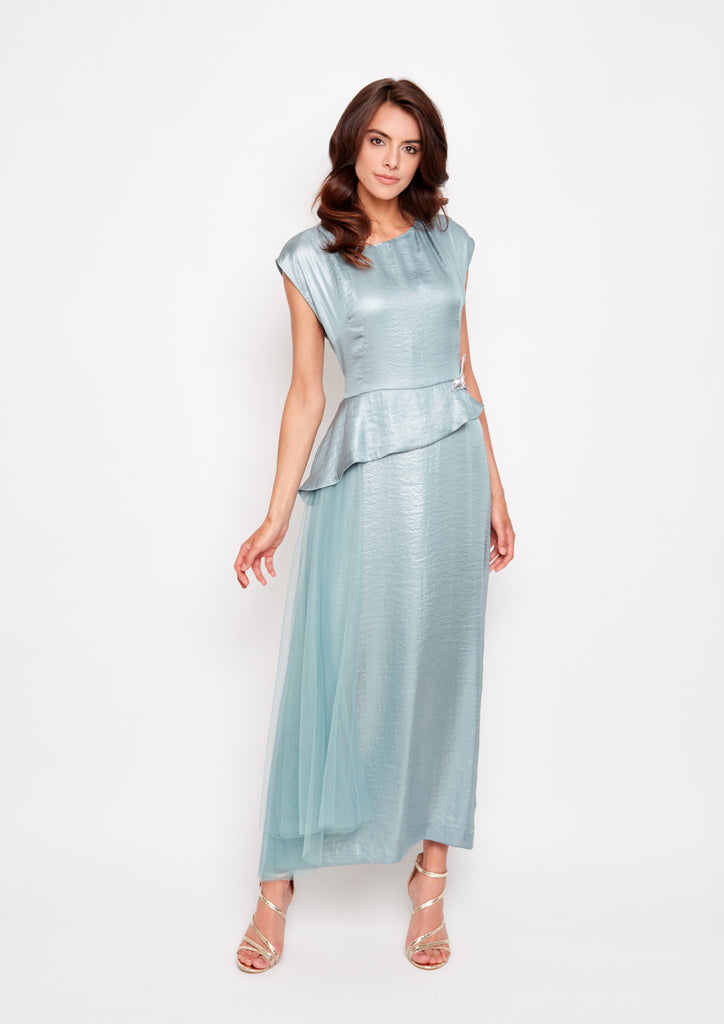 Teal Dress with Draped Skirt