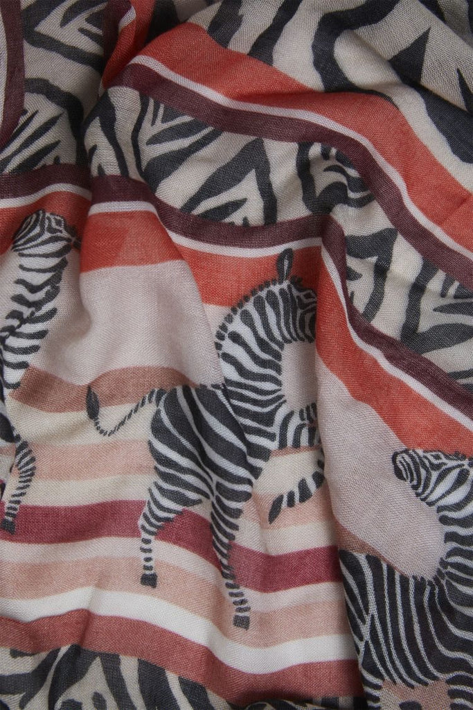 Zebra Print Scarf with Rust Accents