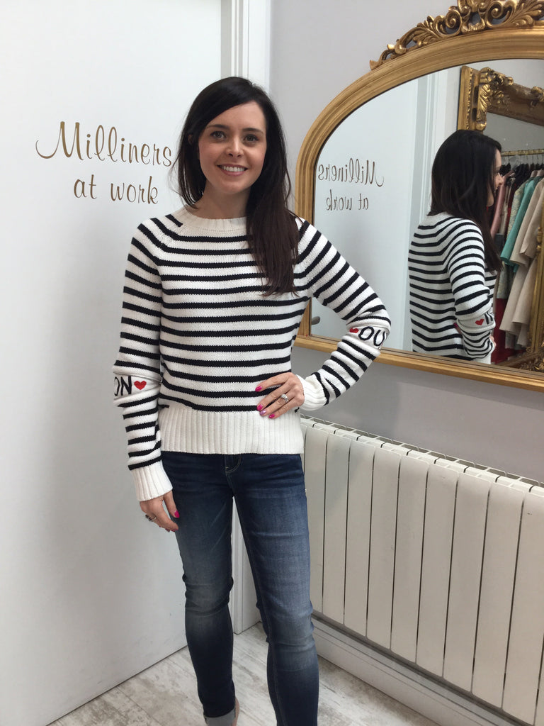 Navy and Ivory Striped Sweater with Zip on Sleeves