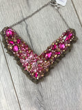 V Collar - Pink & Gold with Gold Lace
