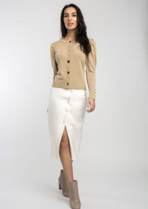 Beige Knitted Cardigan with Gold Buttons
