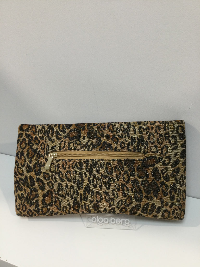 Sheina Metallic Leopard Fold Over Clutch