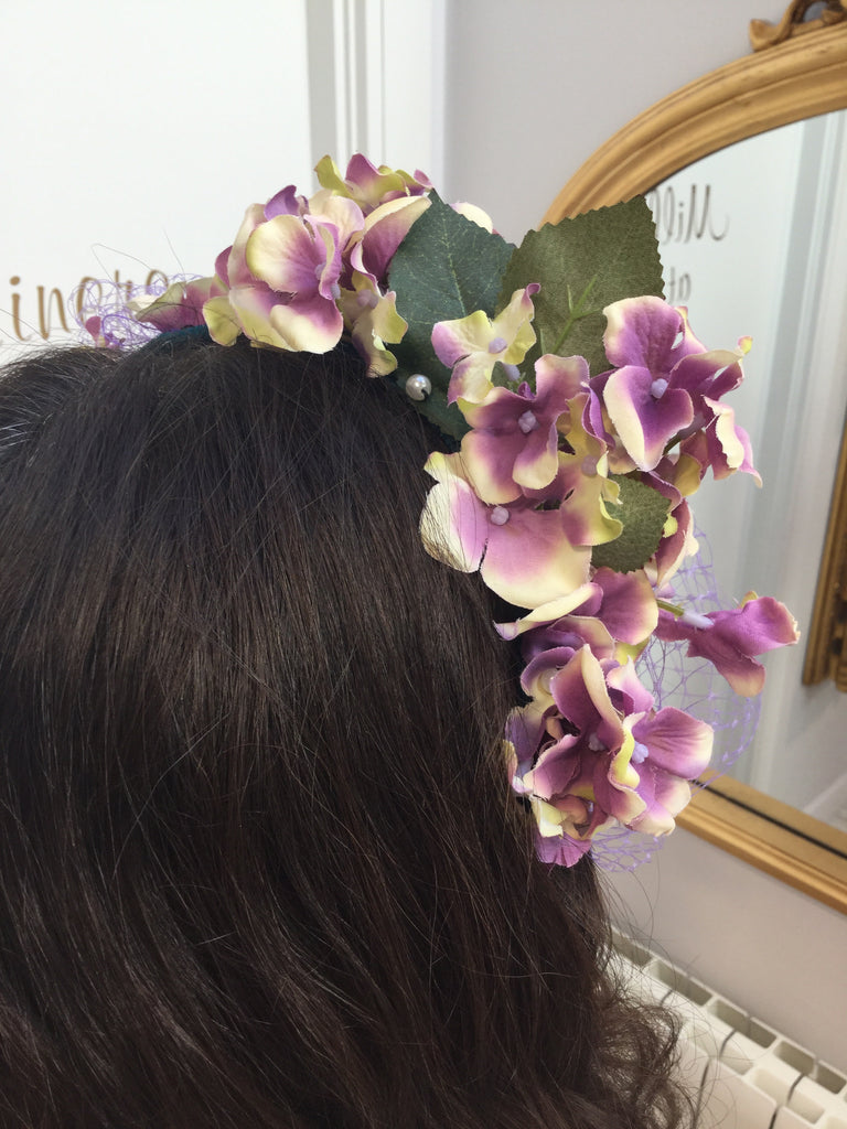wedding hairband purple green floral