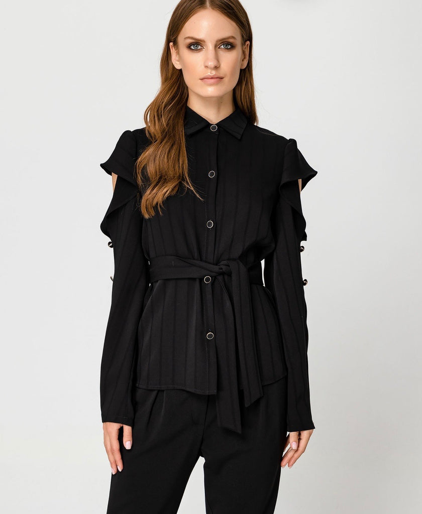 Shirt with Peekaboo Frilled Sleeve