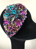 Teardrop in Navy Purple Teal and Gold Crystals