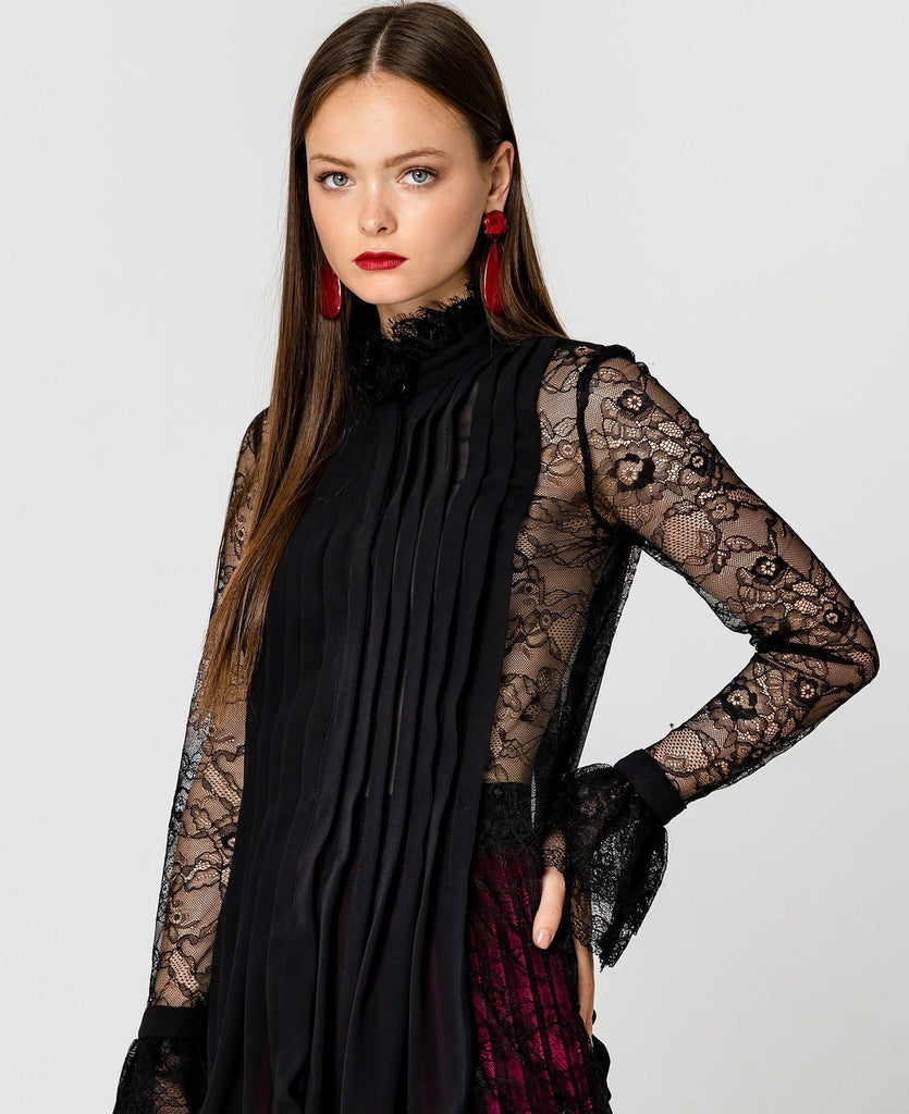 Lace and Pleated Blouse