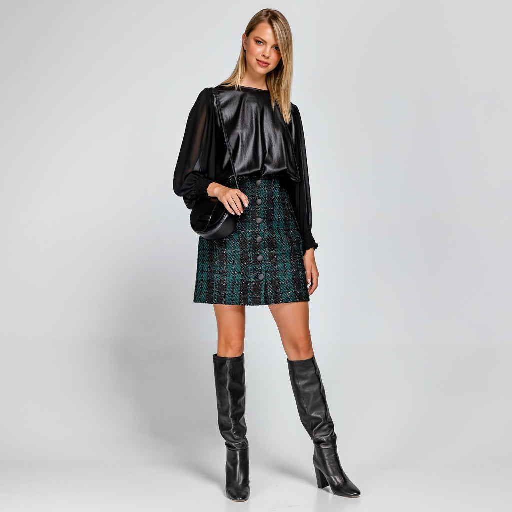 Tweed Button Down Mini Skirt
