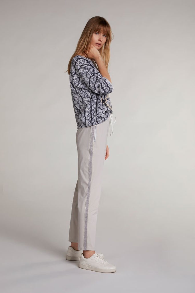 Jogger Pants With Stripe Detail Beige