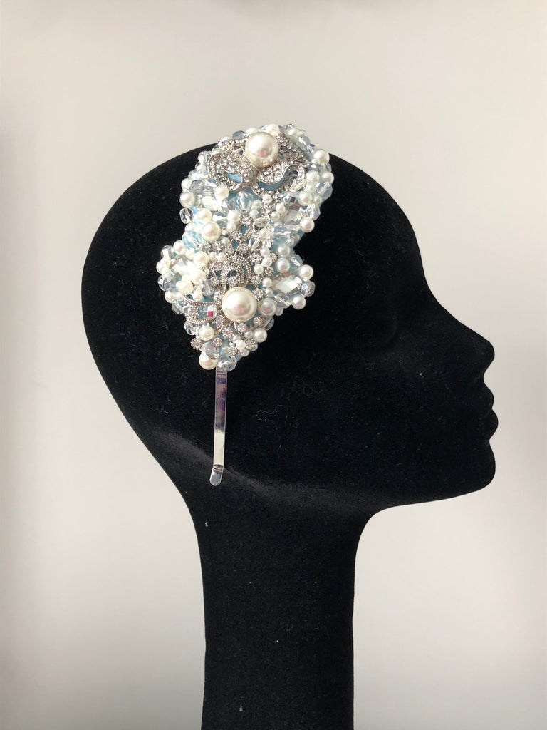Plumeria Headpiece in Pearl Silver and Baby Blue