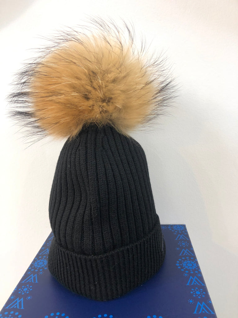 Black Merino Wool Hat with Natural Pom Pom