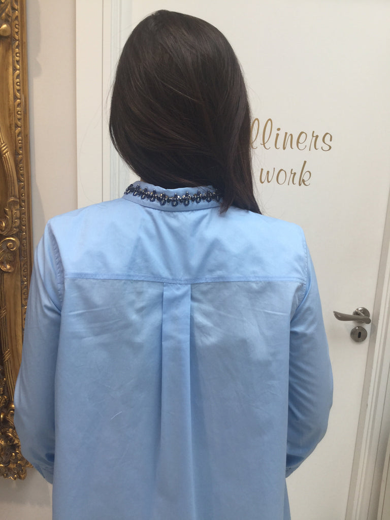 Blue Shirt with Beaded Neck Detail