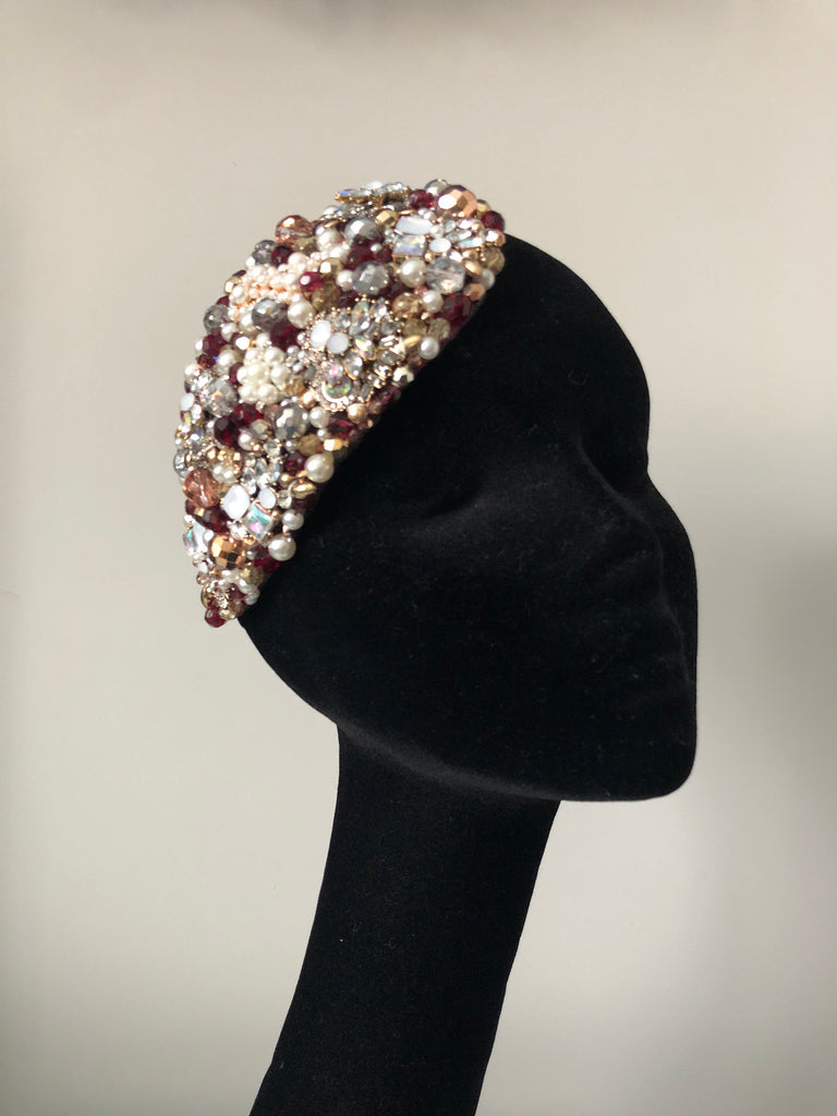 Teardrop in Pearl Burgundy Gold Silver and Rose Gold Crystals
