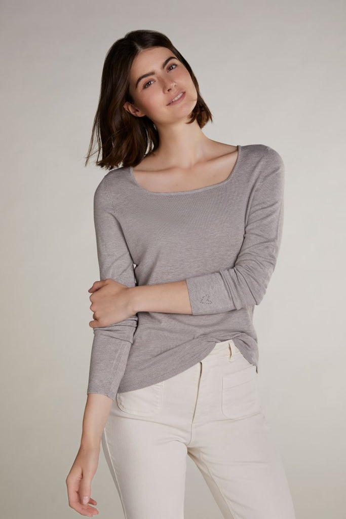 Beige Square Neck Lightweight Sweater