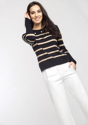 Black and Beige Striped Sweater with Gold Buttons