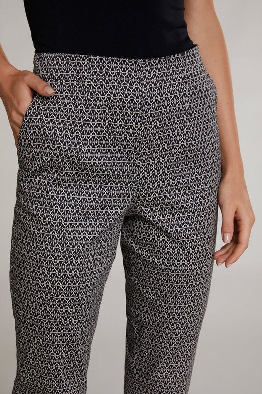 Black and Ivory Printed Trouser