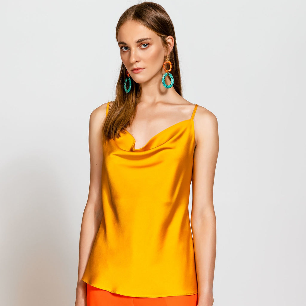 Camisole Satin Strappy Top Mustard