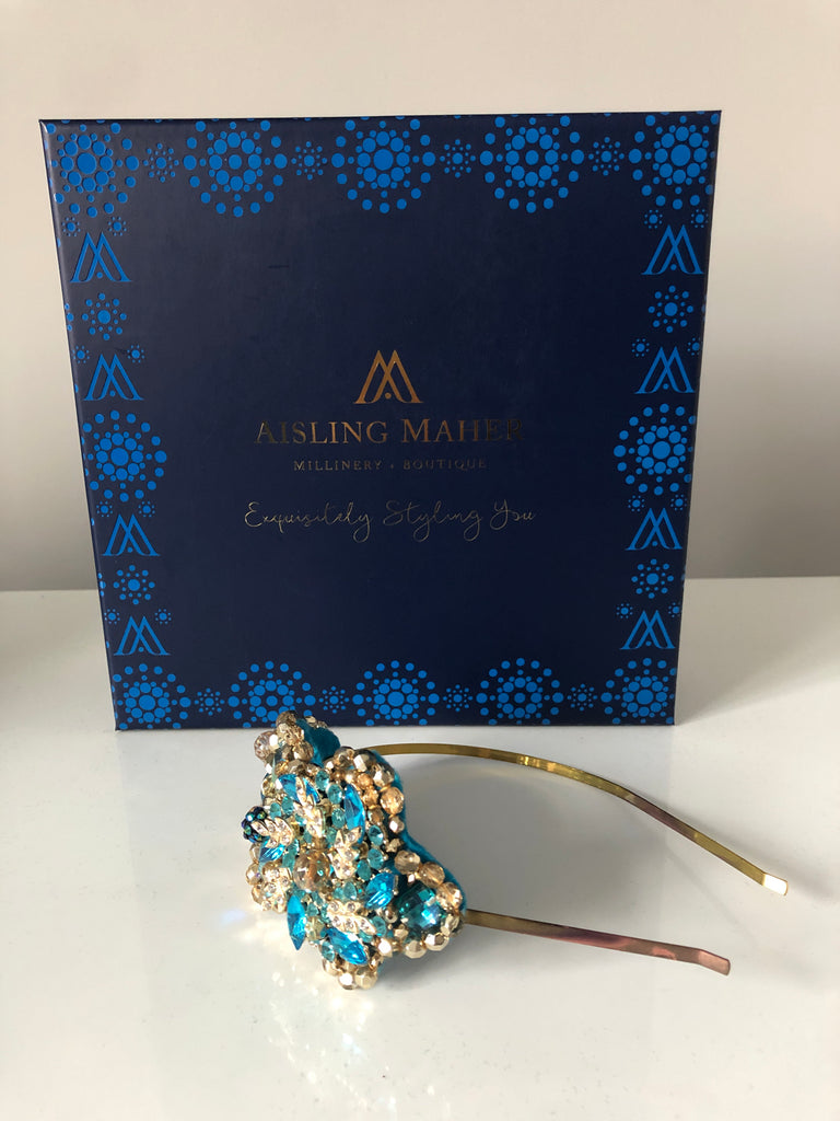 Plumeria Headpiece in Turquoise and Gold Crystals