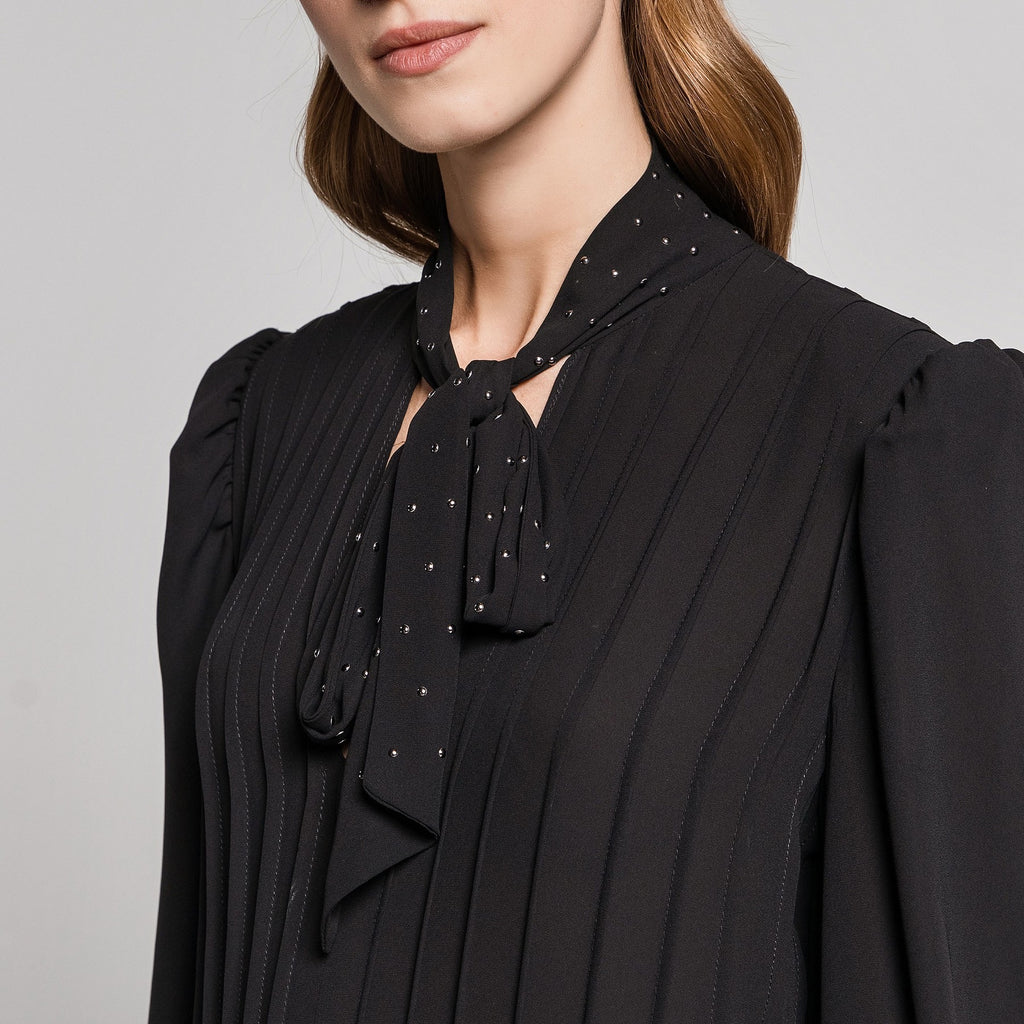 Black Pleated Dress with Studded Neck Tie