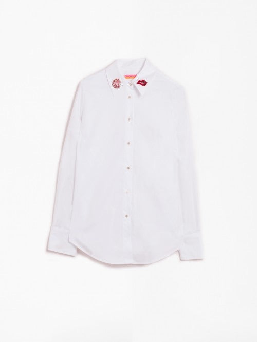 Mafalda Cotton Shirt with Embellished Collar