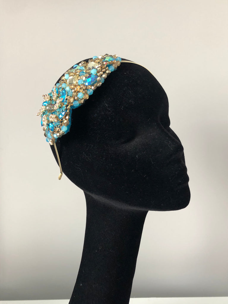 Plumeria Headpiece in Turquoises and Gold Crystals