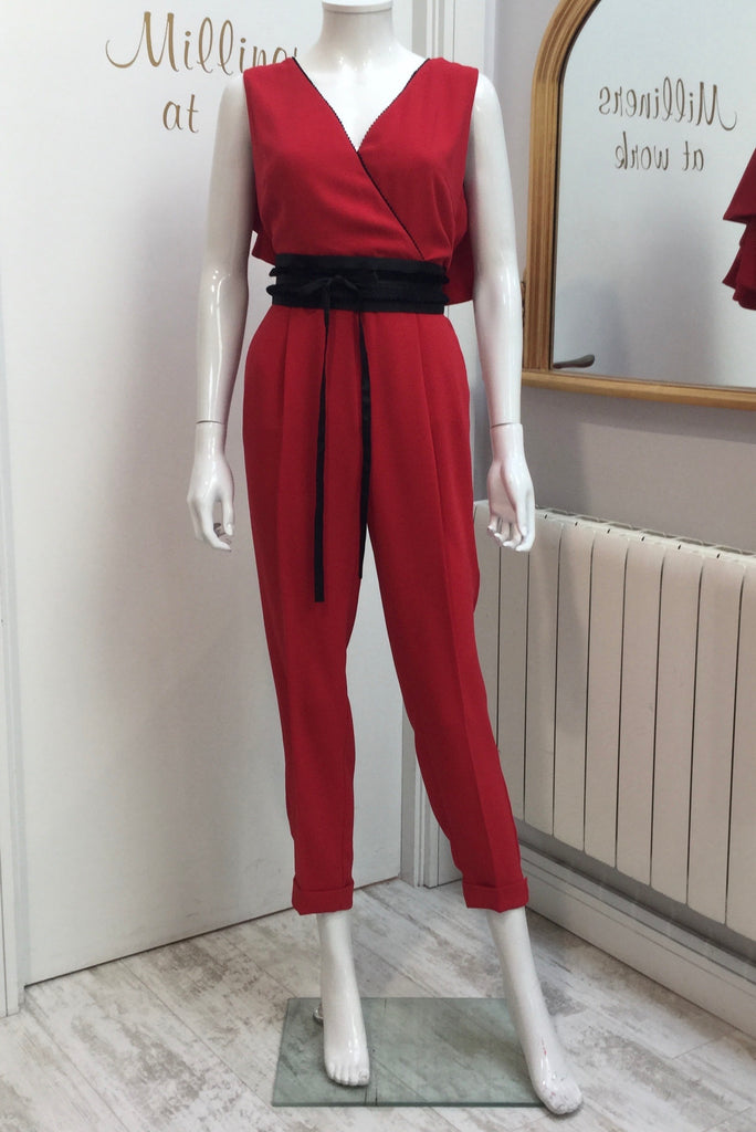 Jumpsuit With Belt And Vneck