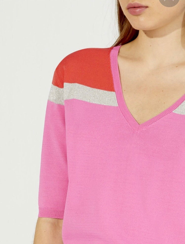 Aurora Sweater in Coral and Pink