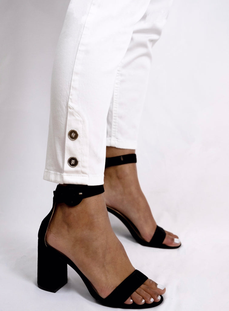 White 3/4 Button Jeggings