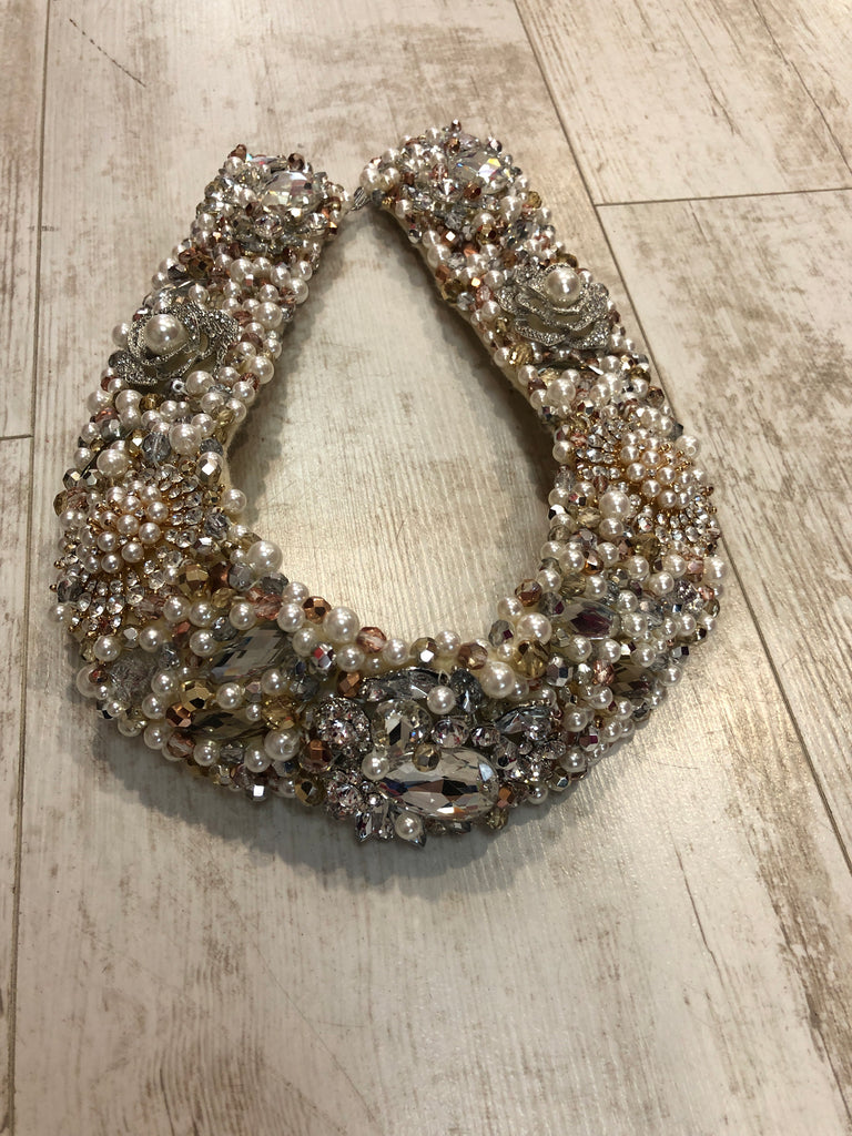 Large Collar - Pearl Rosegold & Silver