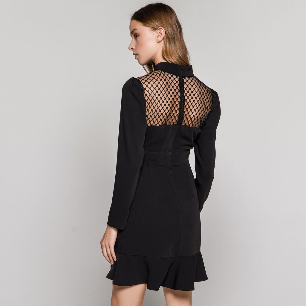 Black Dress with Ruffle Front and Sheer Panels