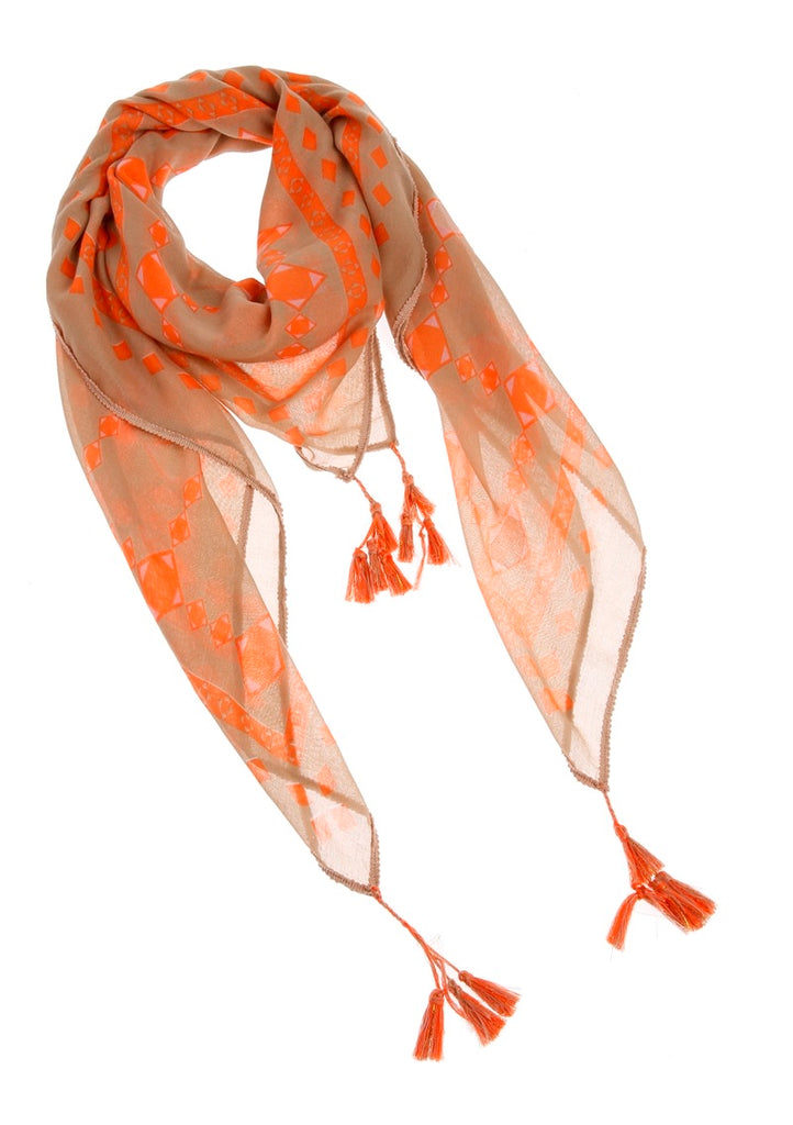 Beige Scarf with Orange Pattern and Fringe