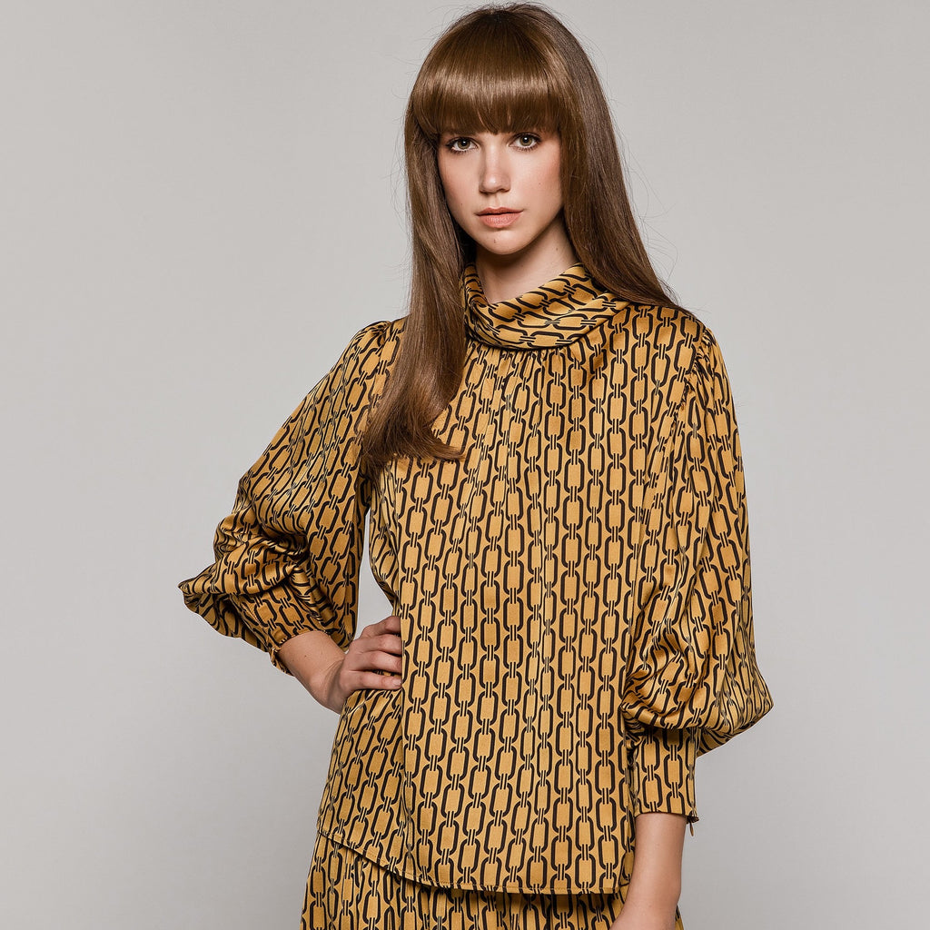Mustard and Black Printed Blouse