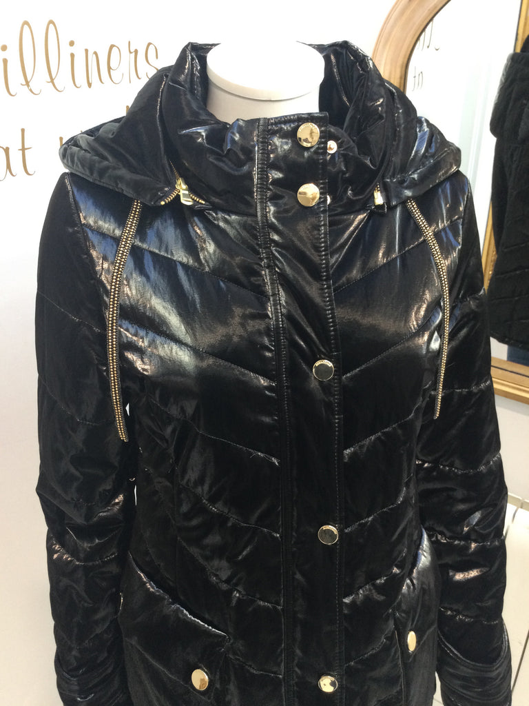 Black Parka Jacket with Gold Trims