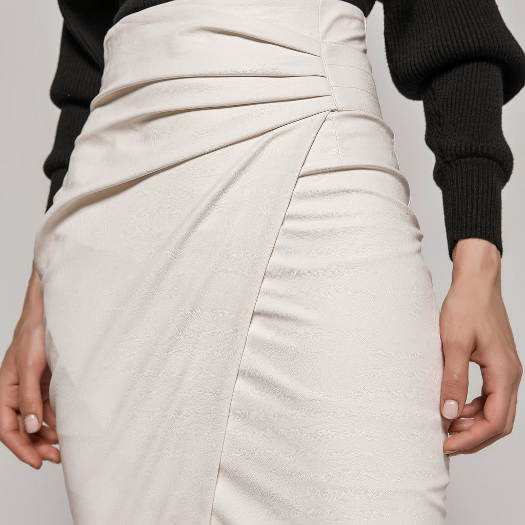 Ivory Leather Look Pencil Skirt