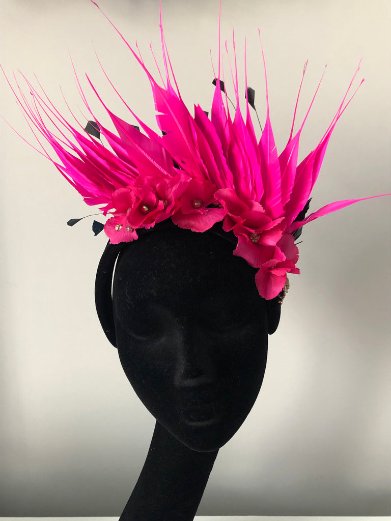 Blair Headpiece in Black and Pink