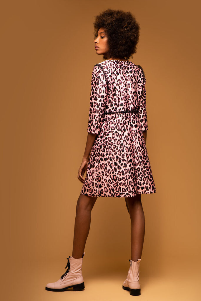 Carly Dress in Pale Pink Leopard Print