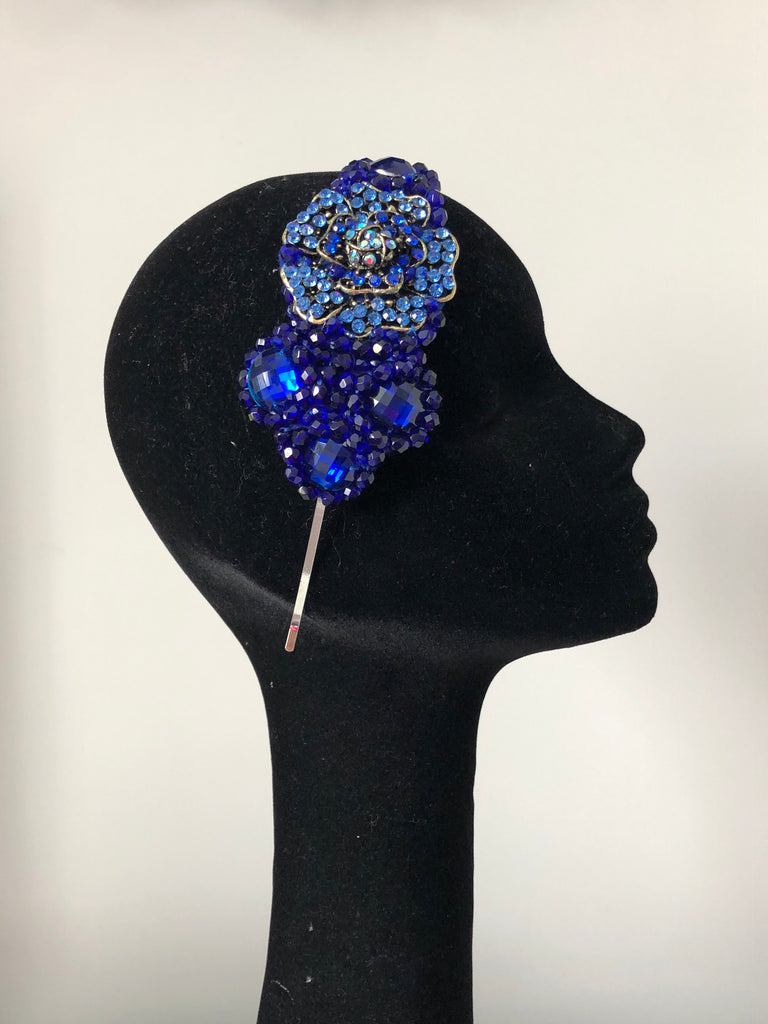 Plumeria headpiece in Royal Blue with Antique Gold Crystals