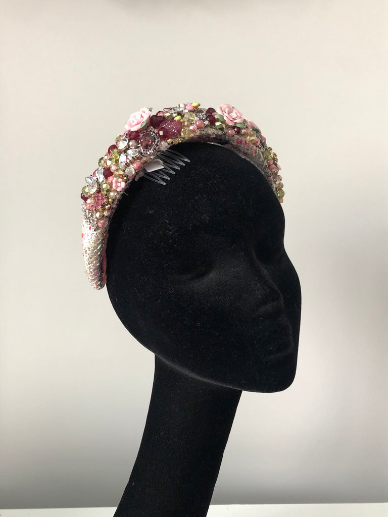 Coco Headpiece In Pale Pink Silver and Wine