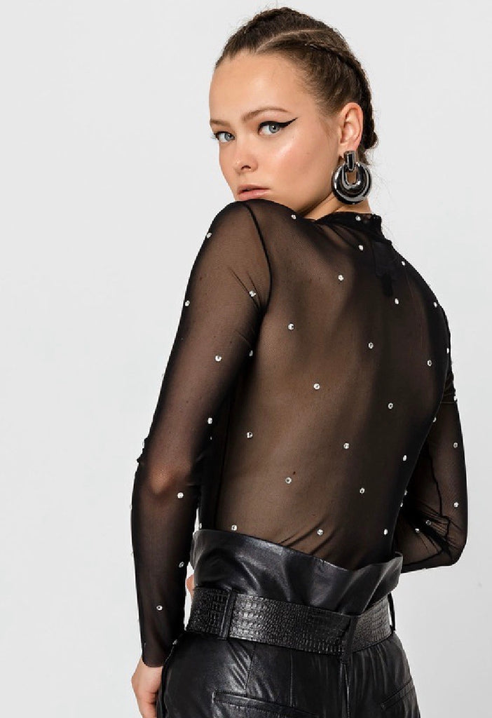 High Neck Sheer Top with Crystals