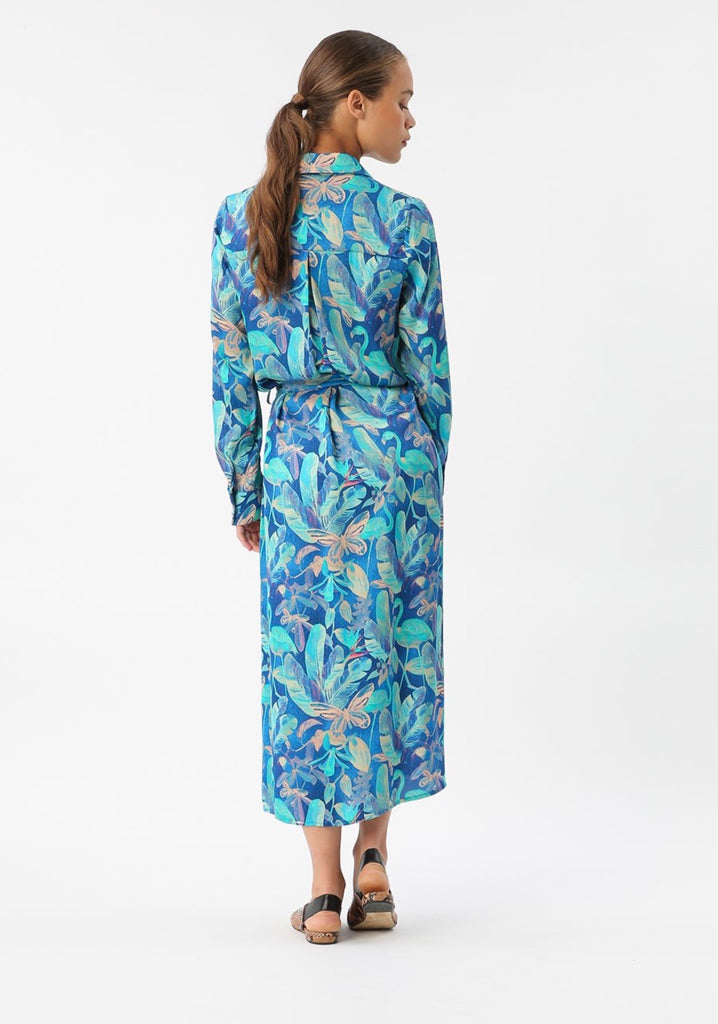 Night Tropic Maxi Shirt Dress