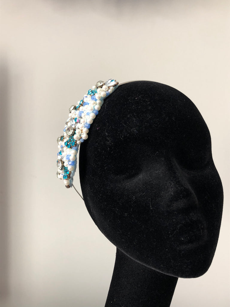 Plumeria Headpiece in Pearl Turquoise and Crystals