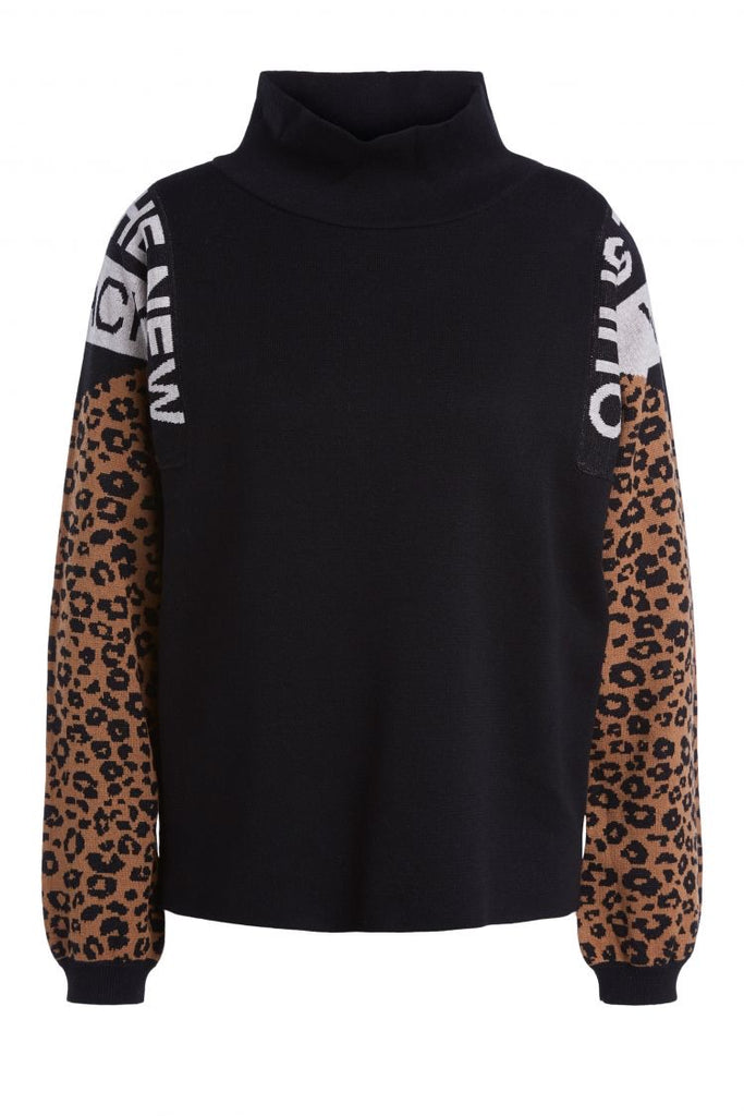 Black Sweater with High Neck and Leopard Print Detail on Sleeves