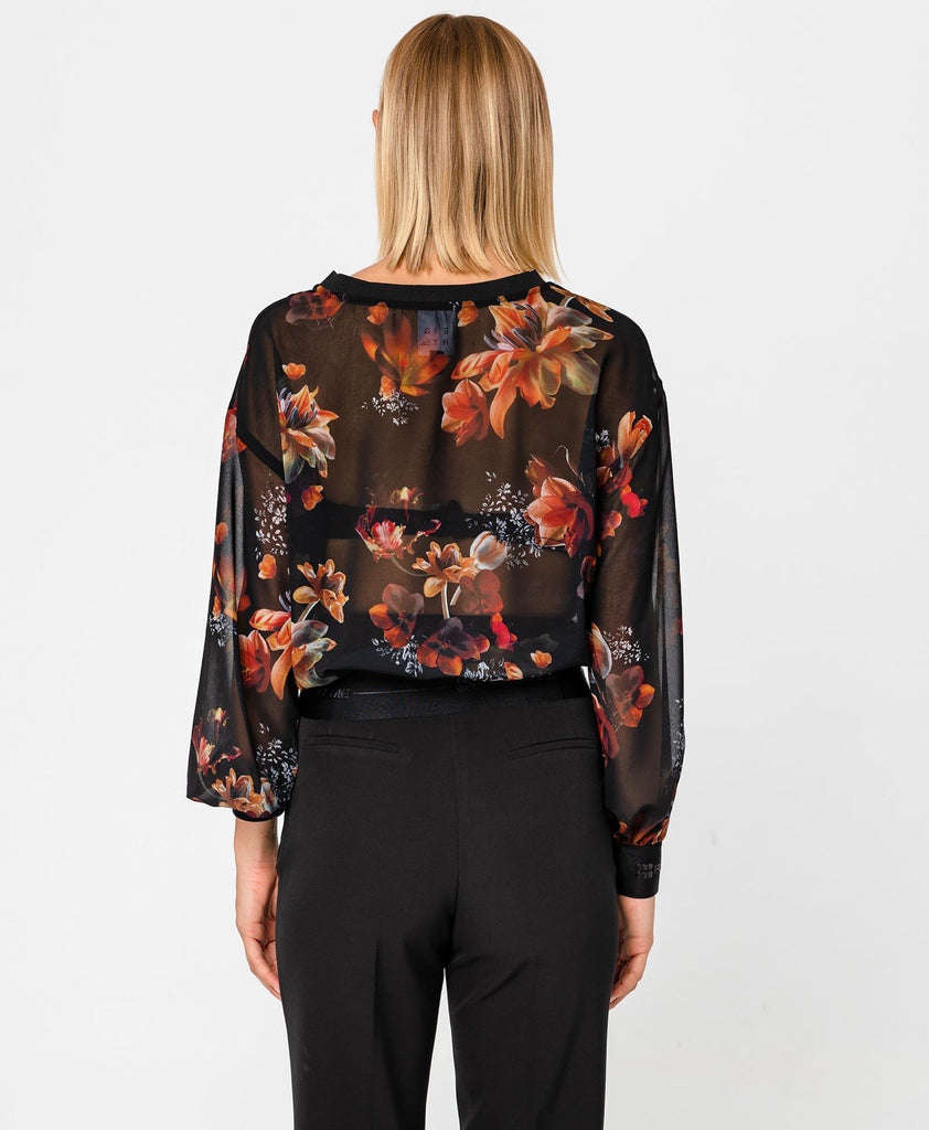 Sheer Top with Floral Stain Print