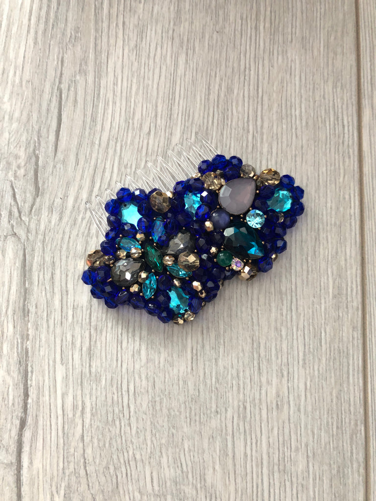 Iris in Blue Turquoise and Gold Crystals
