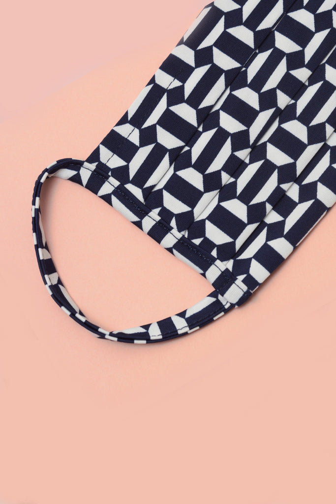 Face Mask in Aditi Navy Print