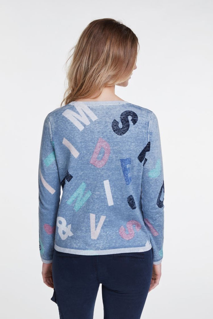 Navy Sweater with Letter Print