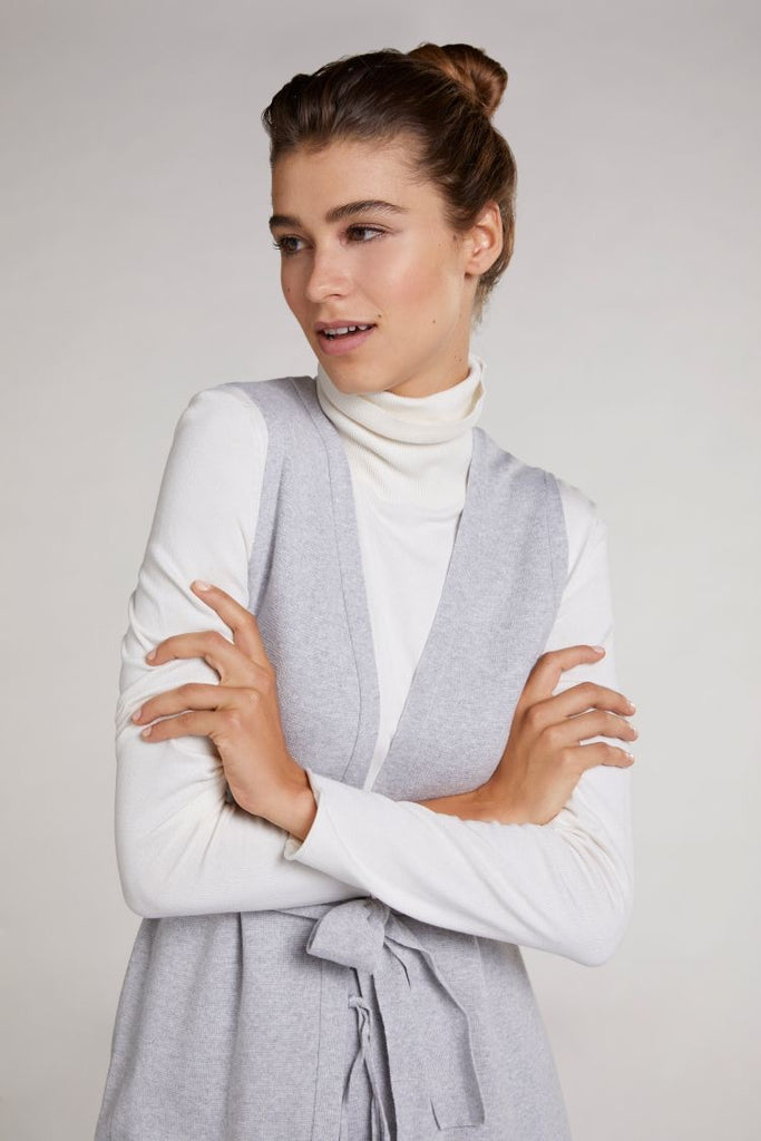 Grey Knit Gilet with Tie