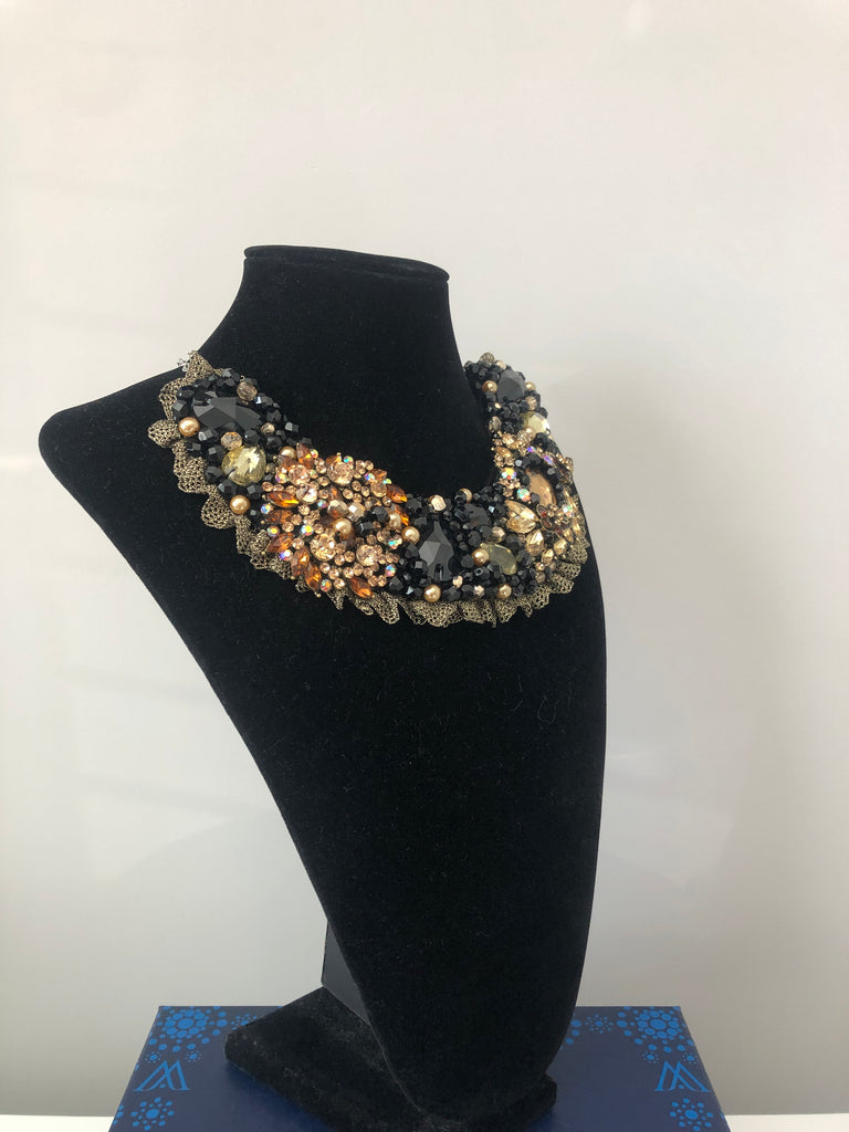 Small Collar in Black, Gold and Amber