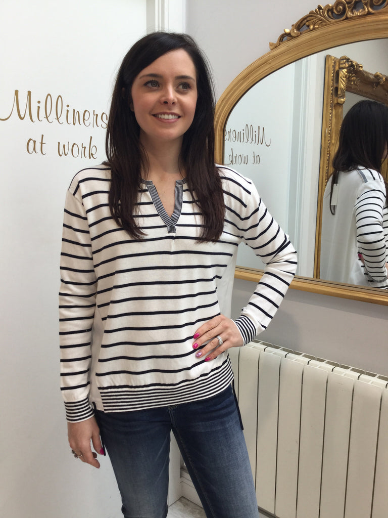 Ivory and Navy Striped Sweater with Ivory Inserts in the Sides